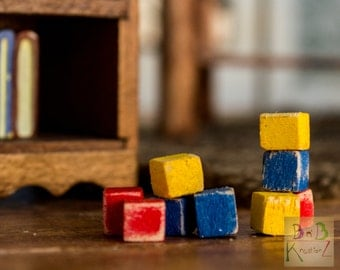 Toy Blocks (Red, Blue, & Yellow) -- Dollhouse Miniature 1:12 Scale
