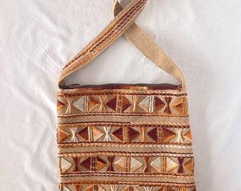 Vintage Crewel Embroidered Burlap Purse