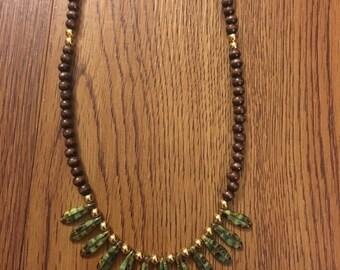 Autumn Leaf Dark Brown Wooden Necklace