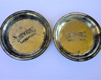 Vintage Snow King Baking Powder Metal Pie Pans (set of 2)