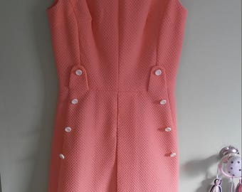 60s vintage pink sleeveless dress