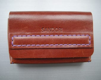 Sandori business card case, real, smooth Italian leather, magnetic closure, Brown with contrast stitching in purple, handmade