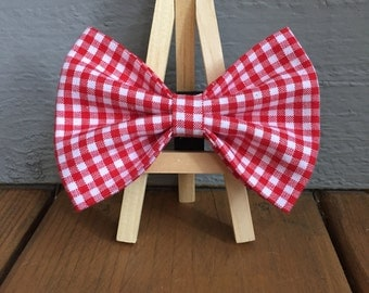 red and white check, gingham dog bow tie