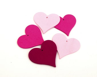 Large mixed pink hearts for Decoration jewels scrapbooking 40mm-4