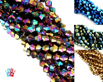 5 strands of pearls with faceted crystal glass bicone 4mm sky blue/purple/Gold/Green Rainbow