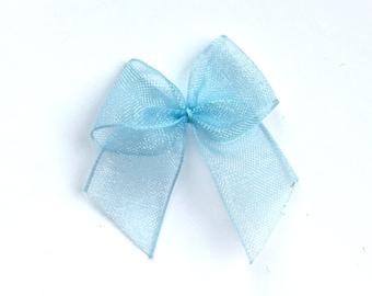 10, blue organza bows, blue ribbon bows, blue bows, wedding supplies, organza ribbon bows, 12mm ribbon bows, cardmaking supplies uk