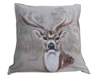 AXIS DEER HEAD Pillow, Decorative Deer Toss Pillow Cover, Texas Deer, Gift For Him