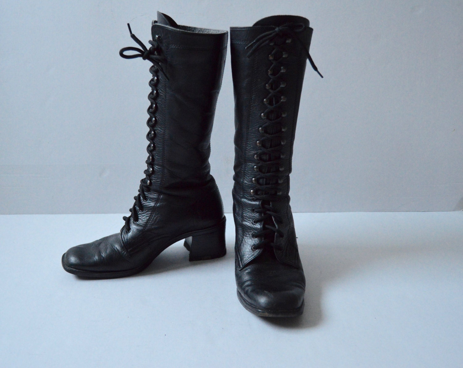 vintage lace up leather boots boho hippie high boots black