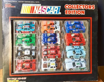 NASCAR Collectors Edition, 12 1:64 scale Die cast Stock-car Replicas, 1991 Vintage NASCAR Collectible, Model cars