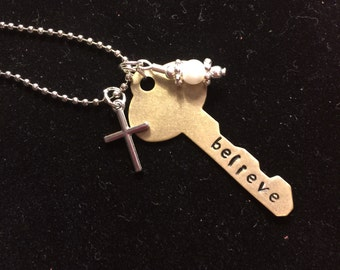 Hand stamped and personalized key necklace- key necklace- key with charms necklace- secret santa gift- birthday gift- new home gift