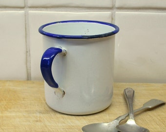Vintage enamel mug blue and white enamelware mug by KER Kockum Sweden. 7cm Swedish kitchenalia hygge Skandi rustic metal enamel kitchen cup