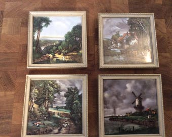 Porcelain Painted Tiles Wall Hangings Set of 4