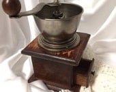 Vintage Coffee Herb Spice Hand Crank Mill Grinder Wooden Decorative Kitchen accessory w/ Drawer
