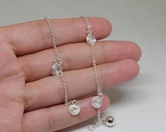 Spiral Sterling Silver Anklet, Dainty Anklet, Delicate Anklet, Sterling Silver Jewelry