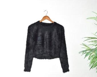 Vintage 90's Black Faux Fur Crop Top Sweater