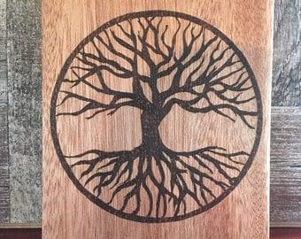 Tattoo Design Tree of Life Wood Burned Wall Hanging