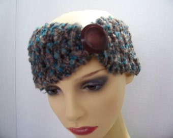 Headband (teal, Brown, Beige) with large button #12
