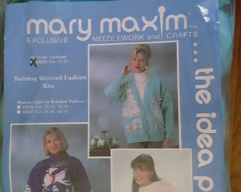 """1980s Mary Maxim Victorian Christmas Sweater Kit Make Your Own """"Ugly"""" Christmas Sweater!"""