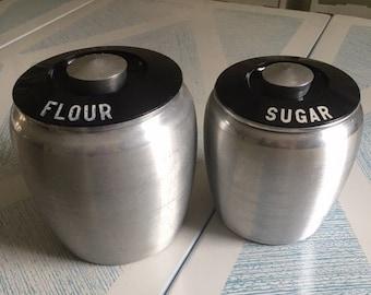 Vintage Kromex Sugar and Flour Jar Canister, Mid Century Canister, Vintage Kitchen, Aluminum cookie jar