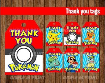 Pokemon Thank You tags, Printable Pokemon gift tags, Pokemon party Thank You tags instant download
