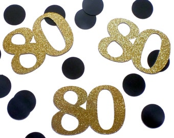 Custom age number confetti - 80 Birthday Confetti, Eighty Birthday, 80 Confetti, 16th birthday, Sweet 16, Gold and Black Party 21