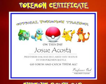 Pokemon Certificate, Pokemon Birthday Printable, Pokemon Birthday, Pokemon Printables, Pokemon Party Favors, Pokemon GO, trainer certificate