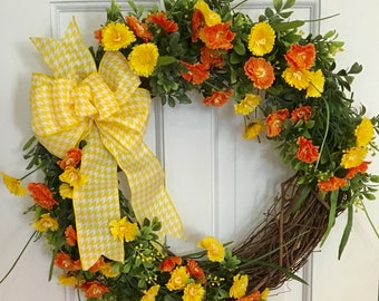Yellow and Orange Summer Wreath, Grapevine Wreath,Front Door Wreath, Spring Wreath