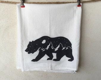 Bear Graphic Screenprint Tea towel