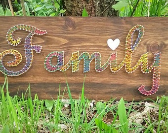 Family nail string art sign with photo string and clothes pins