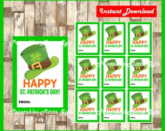 Printable St Patrick's Day tags instant download , Printable Happy St Patrick's Day Printable tags, Happy St Patrick's Day cards