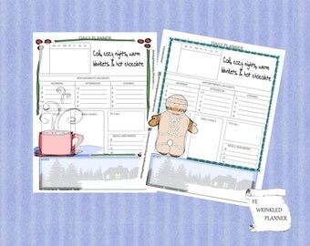 Cozy Winter Nights Digital Downloadable Full Size Daily Planner Inserts