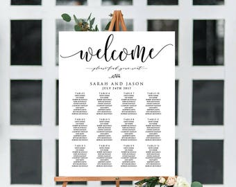 Wedding Seating Chart, Printable Table Seating Plan Template, Rustic Wedding Seating Instant Download PDF WLP300