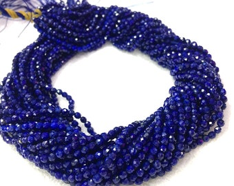 Lapis Lazuli Beads 2mm 3mm 4mm Round Faceted AAA Grade Natural Blue Gemstone Small Faceted Beads Tiny Faceted Beads Blue Gold Spacer Beads