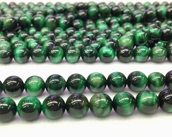 Green Tiger Eye Round beads 8mm Mala Beads 8mm Green Gemstone Beads Meditation Yoga Healing Beads Mala Bracelet Necklace accessories