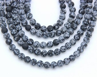 Matte Snowflake Jasper Beads 6mm 8mm Natural Black Gray Beads Matte Mala Beads For Men Woman Bracelet Necklace Matte Mala Supplies