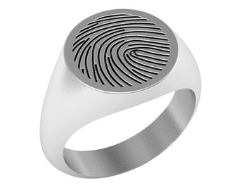 Custom Fingerprint Signet Ring in Sterling Silver Metal, Personalized Signet Ring, Custom Actual Fingerprint Ring, Baby's Fingerprint Ring
