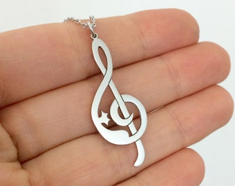 Cat and Treble Clef Necklace in Sterling Silver Metal, Silver Cat Necklace, Treble Clef Necklace, Cat Pendant, Music Jewelry, Christmas Gift