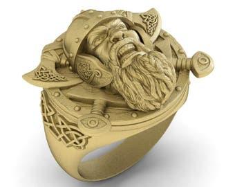 Viking Ring in Sterling Silver Metal, Viking Warrior Ring, Biker Ring, Norse Ring, MAn Ring, Norse Mans, Viking Signet Ring, Celtic Ring