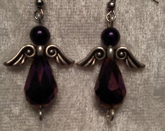 Purple Angel Earrings