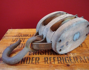 Vintage Large Wooden Block & Tackle Double Pulley with Hook