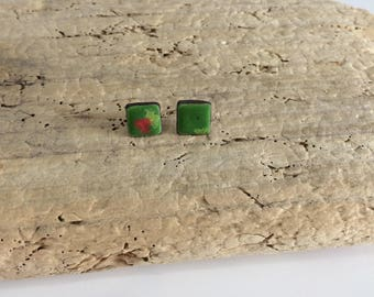 Earrings chip, square, green, minimalist, geometric, unique, ceramic, ceramic