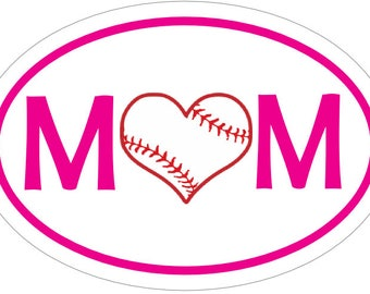 BASEBALL MOM HEART in Pink Euro Style Decal-Baseball Sticker - Bumper Sticker - Perfect Ball Player Parent Team or Coach Gift