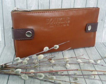Caramel leather wallet zipper card holder women's wallet purse phone large folding travel wallet long wallet leather clutch bifold wallet