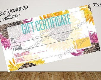 "Gift Certificate (sunflowers) 3""x6"""