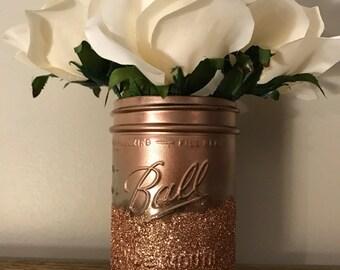 Rose gold mason jar decor, Makeup brush holder, utensil holder, flower vase