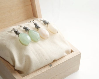 Handmade, Sterling Silver Drop Gem Earrings