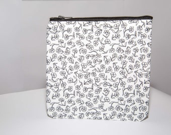 Handmade White & Black floral pouch/ cosmetics bag