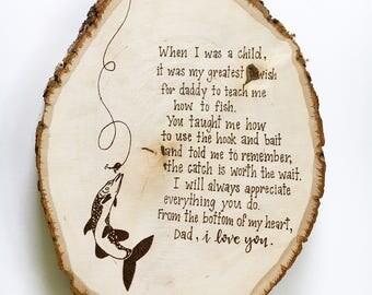 Father's Fishing wood Slice Wall Art