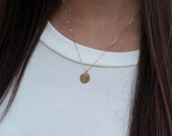 Gold disc necklace -small monogram necklace - free shipping-  Minimal necklace - monogram necklace- tiny initial - personalized necklace