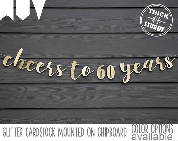 Cheers To 60 Years 60th Birthday Banner Happy Birthday